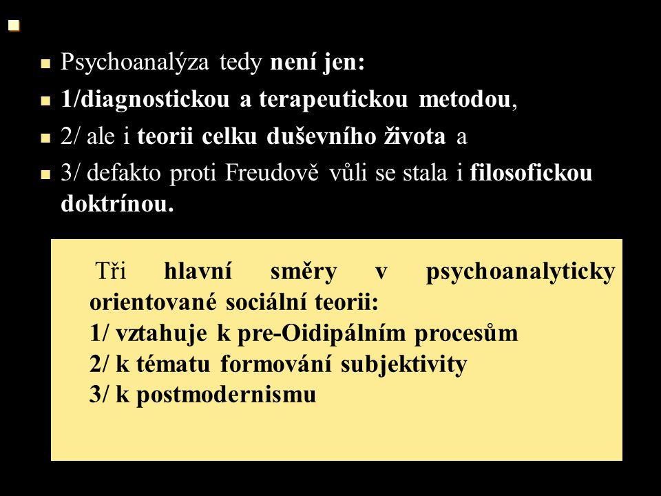 Psychoanalýza tedy není jen: 1/diagnostickou a terapeutickou metodou, 2/ ale i teorii celku duševního života a 3/ defakto proti Freudově vůli se stala