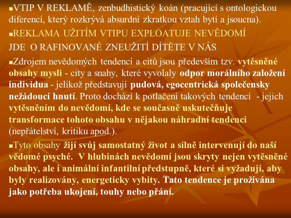 VTIP V REKLAMĚ, zenbudhistický koán (pracující s ontologickou diferencí, který rozkrývá absurdní zkratkou vztah bytí a jsoucna). REKLAMA UŽITÍM VTIPU