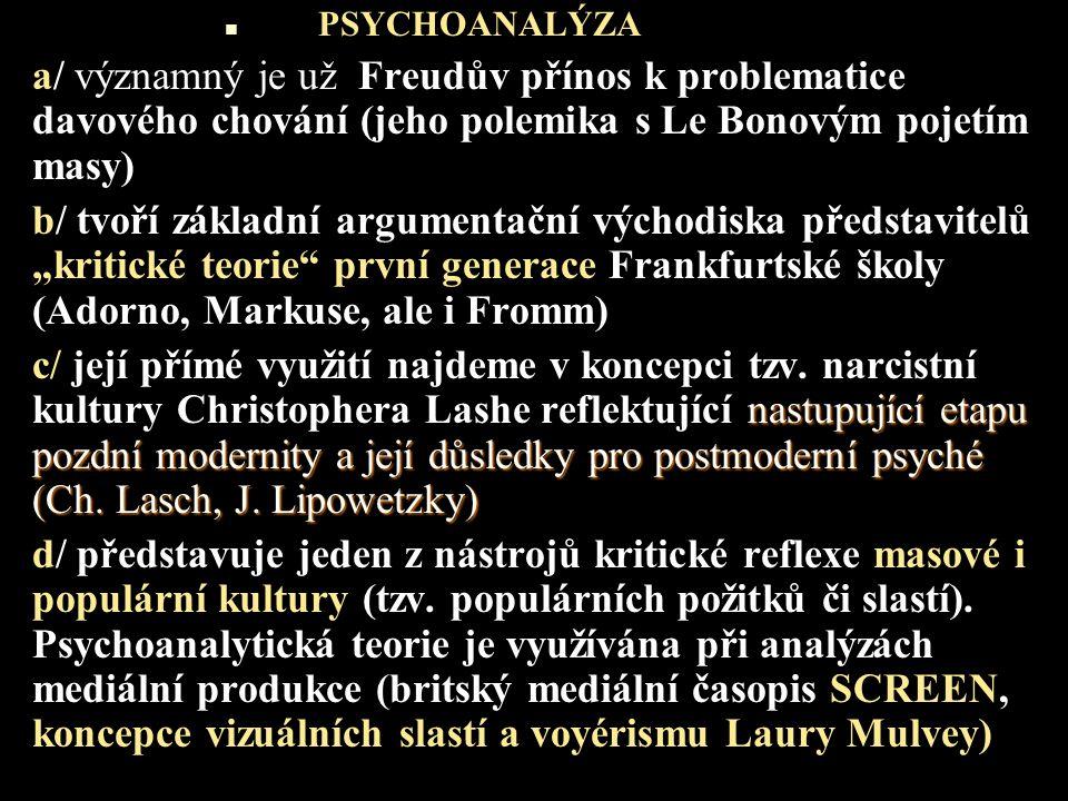PSYCHOANALÝZA a/ významný je už Freudův přínos k problematice davového chování (jeho polemika s Le Bonovým pojetím masy) b/ tvoří základní argumentačn
