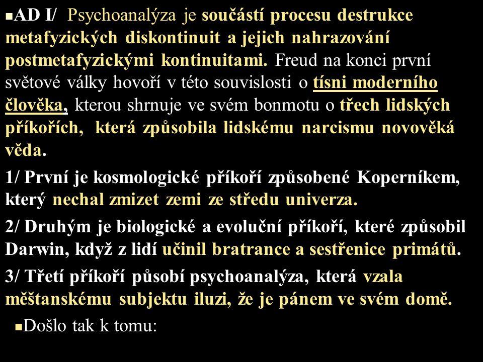 AD I/ Psychoanalýza je součástí procesu destrukce metafyzických diskontinuit a jejich nahrazování postmetafyzickými kontinuitami. Freud na konci první