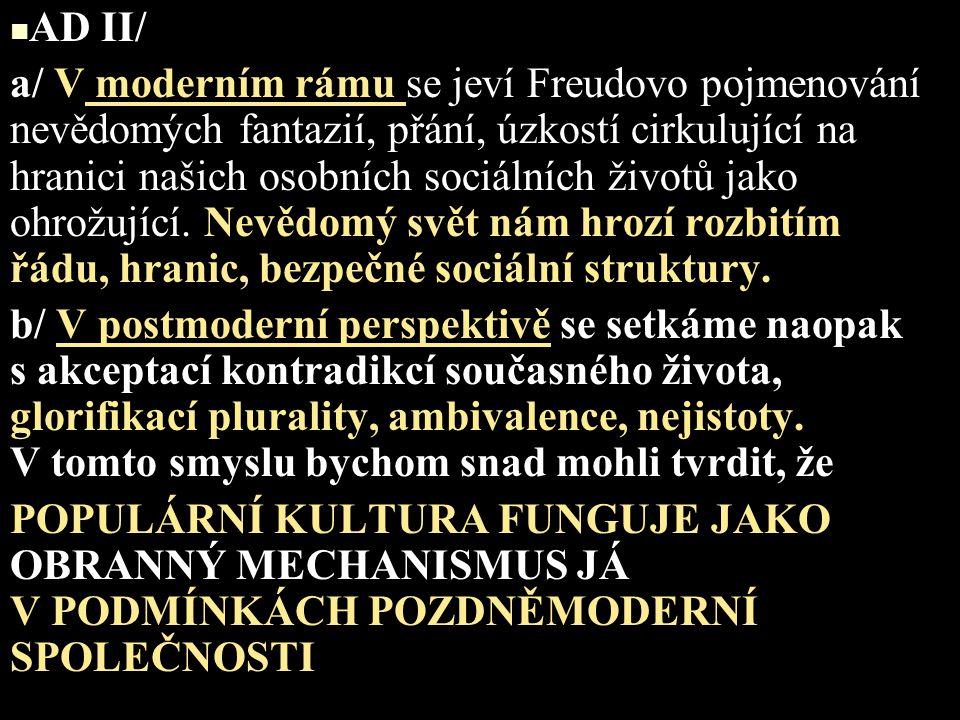 AD II/ a/ V moderním rámu se jeví Freudovo pojmenování nevědomých fantazií, přání, úzkostí cirkulující na hranici našich osobních sociálních životů ja