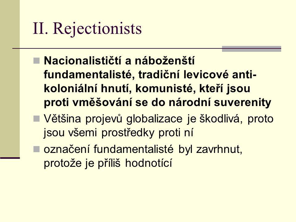II. Rejectionists Nacionalističtí a náboženští fundamentalisté, tradiční levicové anti- koloniální hnutí, komunisté, kteří jsou proti vměšování se do