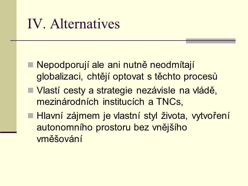 IV. Alternatives Nepodporují ale ani nutně neodmítají globalizaci, chtějí optovat s těchto procesů Vlastí cesty a strategie nezávisle na vládě, meziná