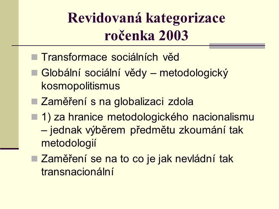 Revidovaná kategorizace ročenka 2003 Transformace sociálních věd Globální sociální vědy – metodologický kosmopolitismus Zaměření s na globalizaci zdola 1) za hranice metodologického nacionalismu – jednak výběrem předmětu zkoumání tak metodologií Zaměření se na to co je jak nevládní tak transnacionální