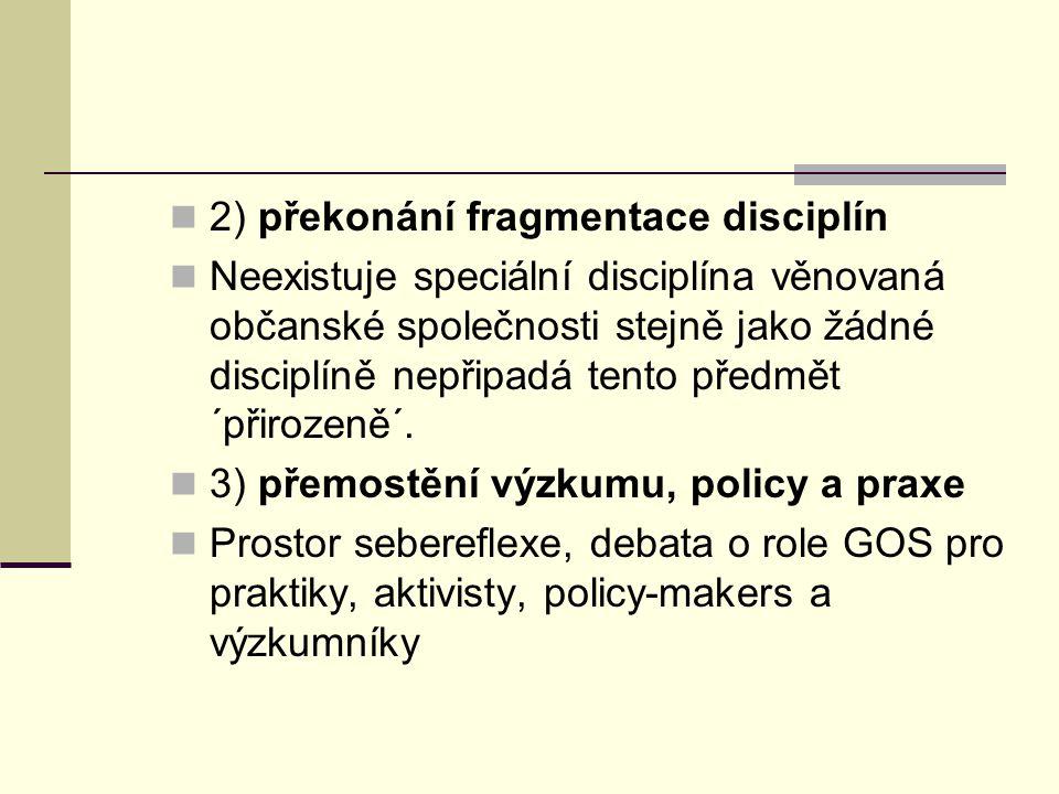 2) překonání fragmentace disciplín Neexistuje speciální disciplína věnovaná občanské společnosti stejně jako žádné disciplíně nepřipadá tento předmět ´přirozeně´.