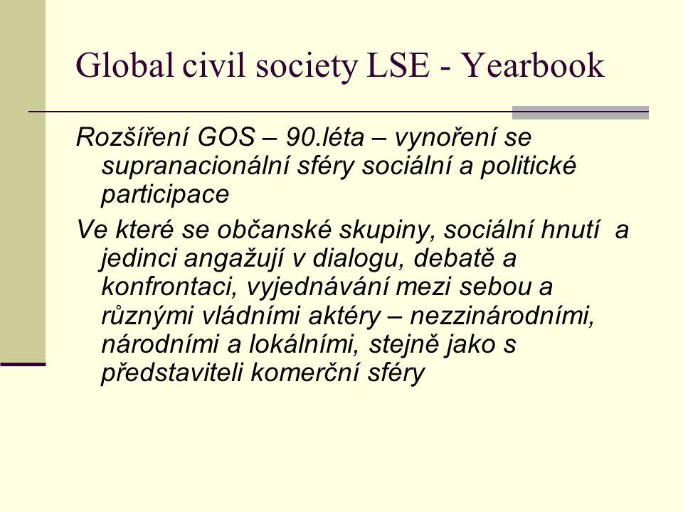 Global civil society LSE - Yearbook Rozšíření GOS – 90.léta – vynoření se supranacionální sféry sociální a politické participace Ve které se občanské skupiny, sociální hnutí a jedinci angažují v dialogu, debatě a konfrontaci, vyjednávání mezi sebou a různými vládními aktéry – nezzinárodními, národními a lokálními, stejně jako s představiteli komerční sféry