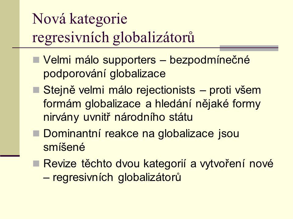 Nová kategorie regresivních globalizátorů Velmi málo supporters – bezpodmínečné podporování globalizace Stejně velmi málo rejectionists – proti všem formám globalizace a hledání nějaké formy nirvány uvnitř národního státu Dominantní reakce na globalizace jsou smíšené Revize těchto dvou kategorií a vytvoření nové – regresivních globalizátorů