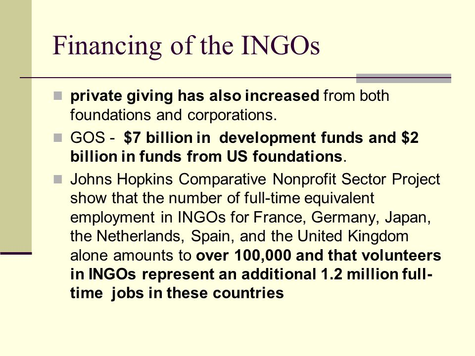 Financing of the INGOs private giving has also increased from both foundations and corporations. GOS - $7 billion in development funds and $2 billion