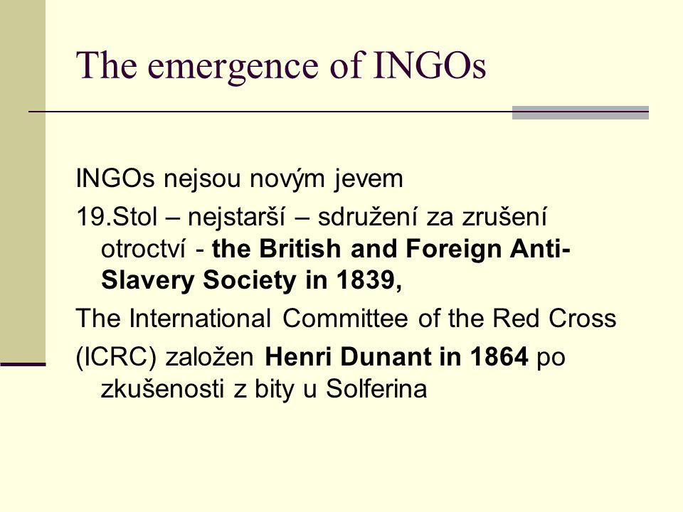 The emergence of INGOs INGOs nejsou novým jevem 19.Stol – nejstarší – sdružení za zrušení otroctví - the British and Foreign Anti- Slavery Society in