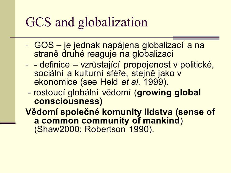 GCS and globalization - GOS – je jednak napájena globalizací a na straně druhé reaguje na globalizaci - - definice – vzrůstající propojenost v politické, sociální a kulturní sféře, stejně jako v ekonomice (see Held et al.