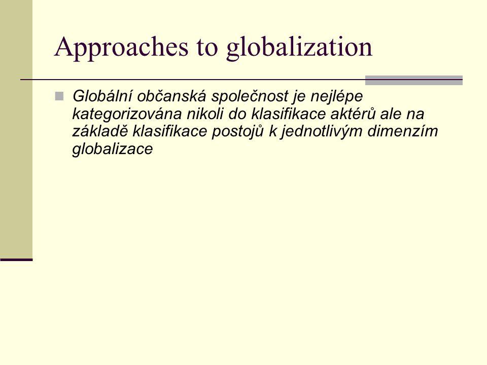 Approaches to globalization Globální občanská společnost je nejlépe kategorizována nikoli do klasifikace aktérů ale na základě klasifikace postojů k jednotlivým dimenzím globalizace