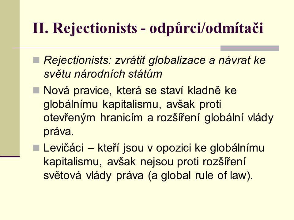 II. Rejectionists - odpůrci/odmítači Rejectionists: zvrátit globalizace a návrat ke světu národních státům Nová pravice, která se staví kladně ke glob