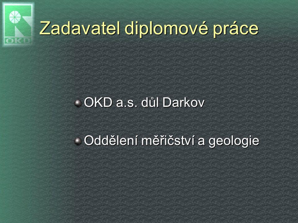 Zadavatel diplomové práce OKD a.s. důl Darkov Oddělení měřičství a geologie