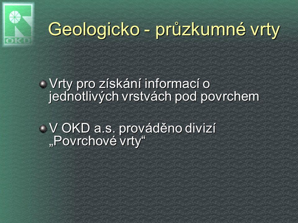 """Geologicko - průzkumné vrty Vrty pro získání informací o jednotlivých vrstvách pod povrchem V OKD a.s. prováděno divizí """"Povrchové vrty"""""""