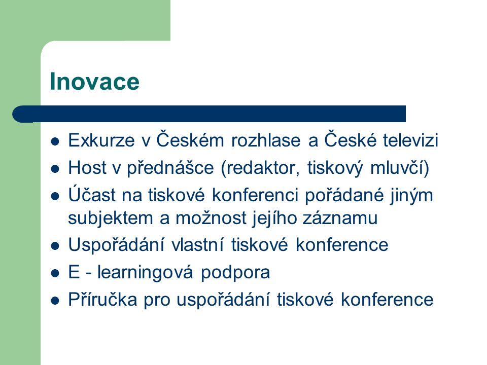 Inovace Exkurze v Českém rozhlase a České televizi Host v přednášce (redaktor, tiskový mluvčí) Účast na tiskové konferenci pořádané jiným subjektem a