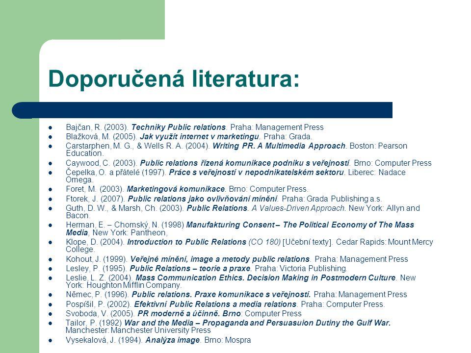 Obsah přednášek: (25.9.2007) - Úvodní přednáška, seznámení s obsahem, strukturou, požadavky na zápočet, HISTORIE PUBLIC RELATIONS, 1.10.2007 – mimo stand.