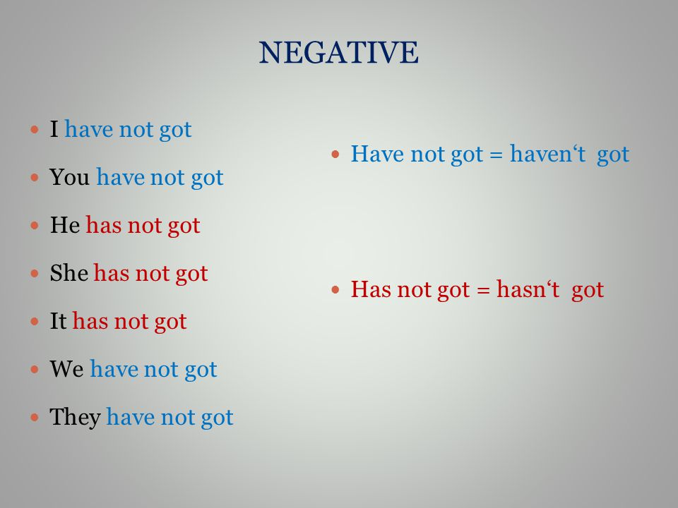 NEGATIVE I have not got You have not got He has not got She has not got It has not got We have not got They have not got Have not got = haven't got Ha