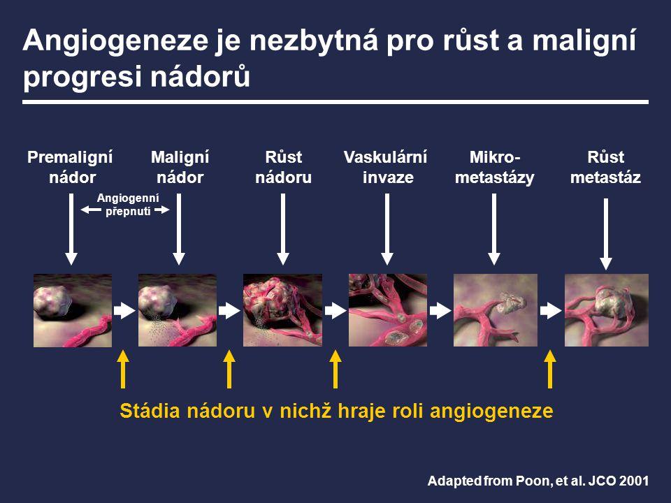 Angiogeneze je nezbytná pro růst a maligní progresi nádorů Adapted from Poon, et al. JCO 2001 Stádia nádoru v nichž hraje roli angiogeneze Premaligní