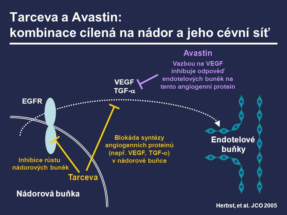 Tarceva a Avastin: kombinace cílená na nádor a jeho cévní síť Nádorová buňka Tarceva Avastin Blokáda syntézy angiogenních proteinů (např. VEGF, TGF- 