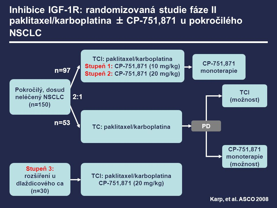 CP-751,871 monoterapie (možnost) Pokročilý, dosud neléčený NSCLC (n=150) PD TCI (možnost) TC: paklitaxel/karboplatina TCI: paklitaxel/karboplatina Stu