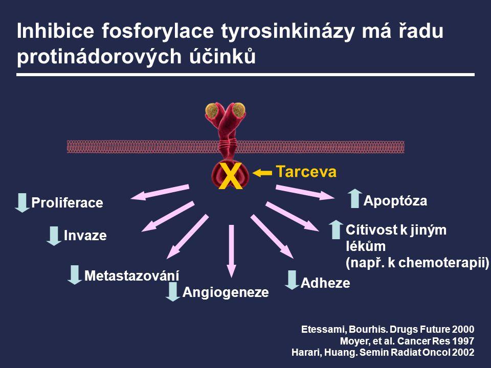Tarceva Angiogeneze Metastazování Adheze Invaze Cítivost k jiným lékům (např. k chemoterapii) Proliferace Apoptóza Etessami, Bourhis. Drugs Future 200