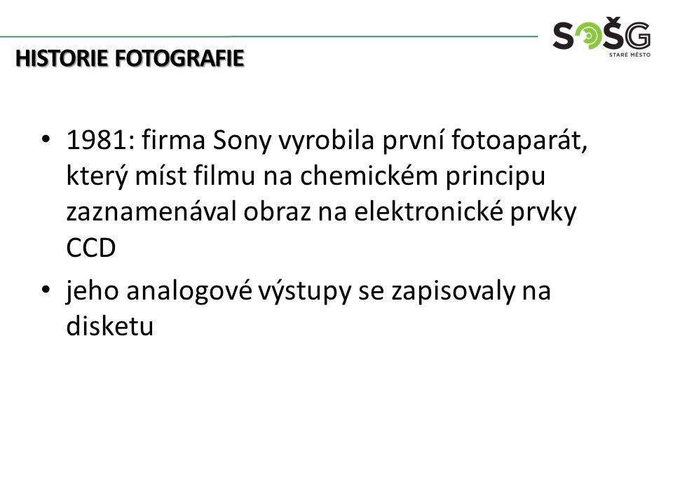 HISTORIE FOTOGRAFIE 1981: firma Sony vyrobila první fotoaparát, který míst filmu na chemickém principu zaznamenával obraz na elektronické prvky CCD jeho analogové výstupy se zapisovaly na disketu
