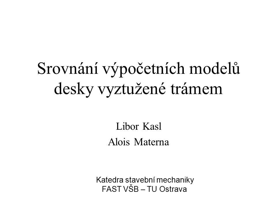 Srovnání výpočetních modelů desky vyztužené trámem Libor Kasl Alois Materna Katedra stavební mechaniky FAST VŠB – TU Ostrava