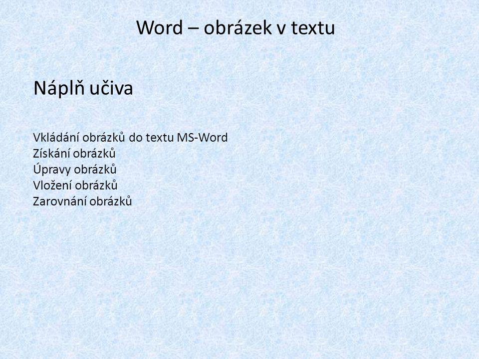 Word – obrázek v textu Náplň učiva Vkládání obrázků do textu MS-Word Získání obrázků Úpravy obrázků Vložení obrázků Zarovnání obrázků