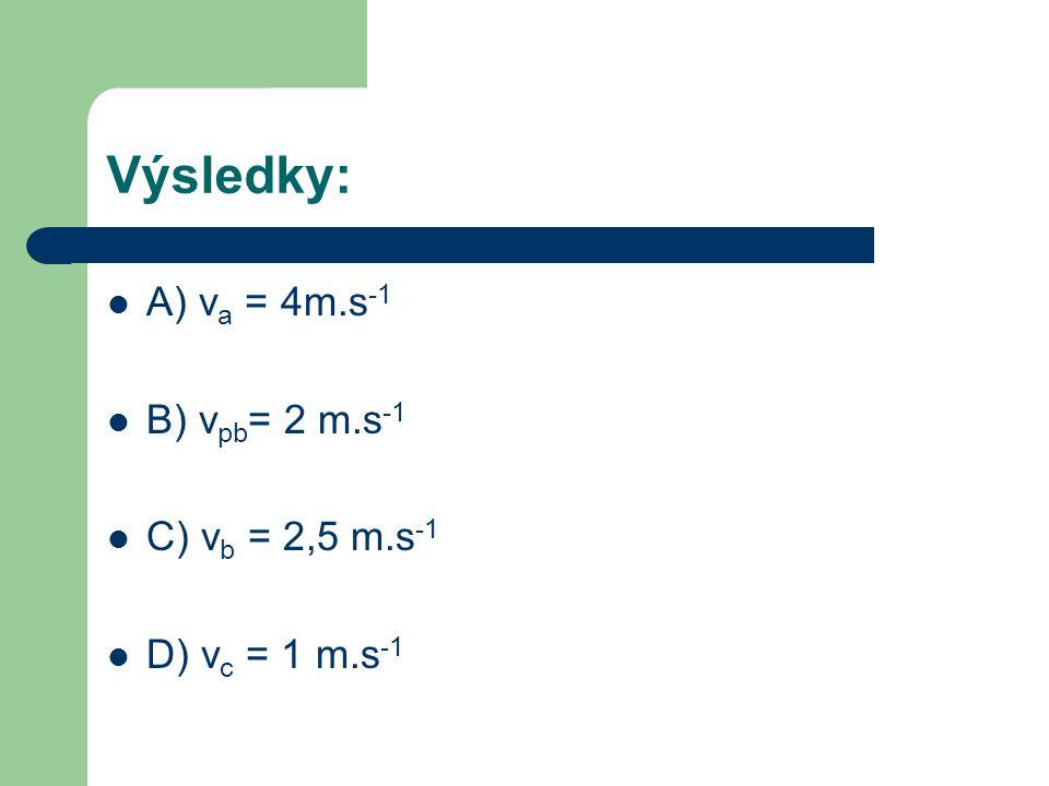 Výsledky: A) v a = 4m.s -1 B) v pb = 2 m.s -1 C) v b = 2,5 m.s -1 D) v c = 1 m.s -1