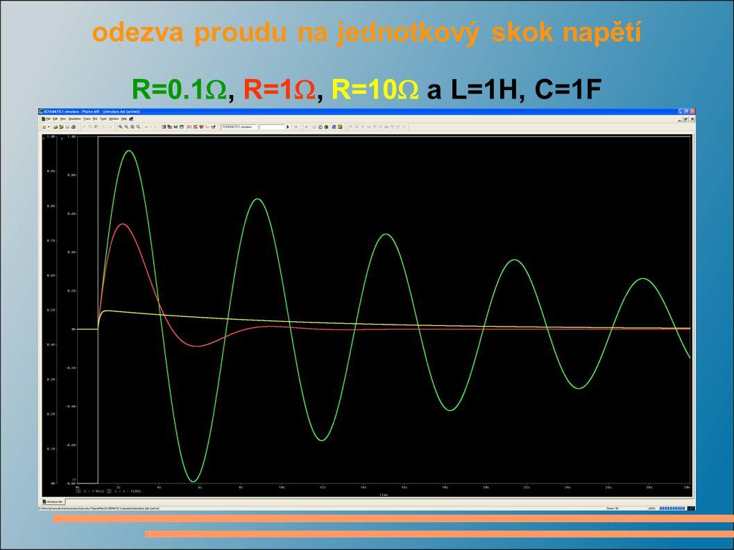 odezva proudu na jednotkový skok napětí R=0.1 , R=1 , R=10  a L=1H, C=1F