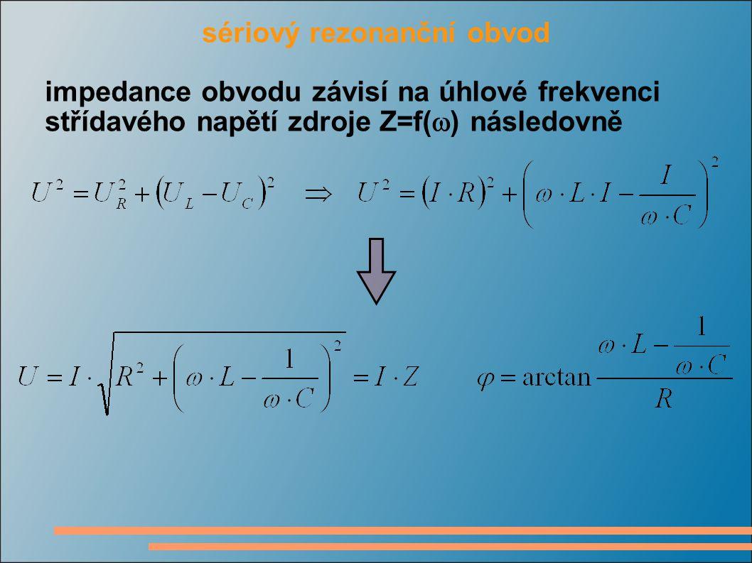 kmitočtová závislost sériové kombinace RCL modul impedance má minimum na rezonančním kmitočtu  0 při kterém platí nízké kmitočty nepropustí kapacitor, vysoké kmitočty nepropustí induktor impedance má na rezonančním kmitočtu nulový fázový posuv mezi napětím a proudem