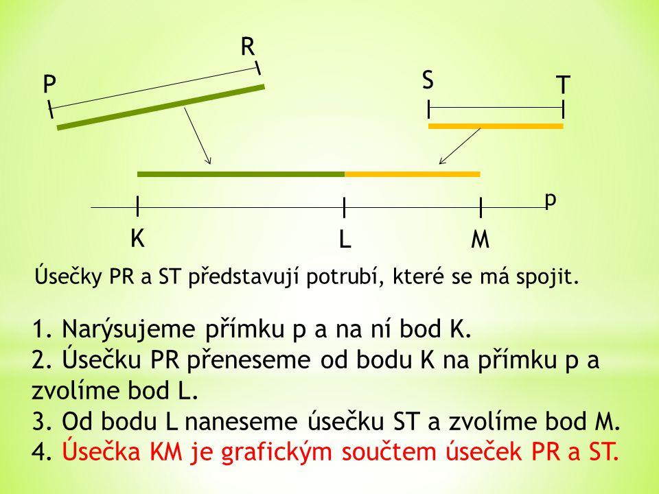 K LM P R S T Úsečky PR a ST představují potrubí, které se má spojit. 1. Narýsujeme přímku p a na ní bod K. 2. Úsečku PR přeneseme od bodu K na přímku