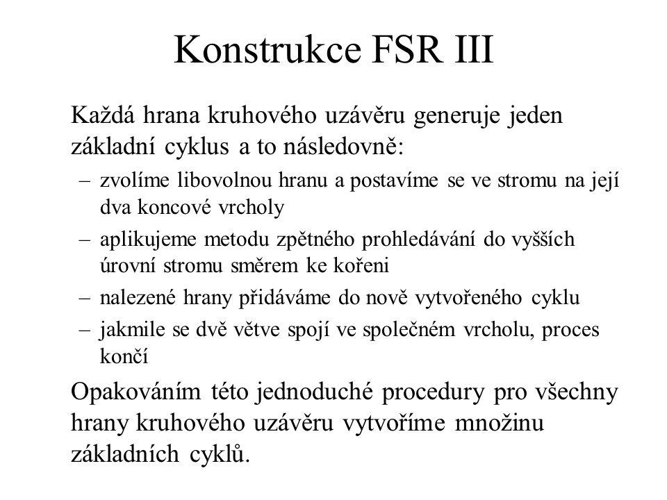 Konstrukce FSR III Každá hrana kruhového uzávěru generuje jeden základní cyklus a to následovně: –zvolíme libovolnou hranu a postavíme se ve stromu na