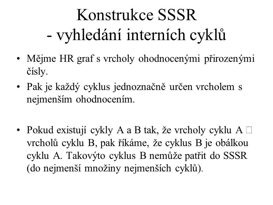 Konstrukce SSSR - vyhledání interních cyklů Mějme HR graf s vrcholy ohodnocenými přirozenými čísly. Pak je každý cyklus jednoznačně určen vrcholem s n