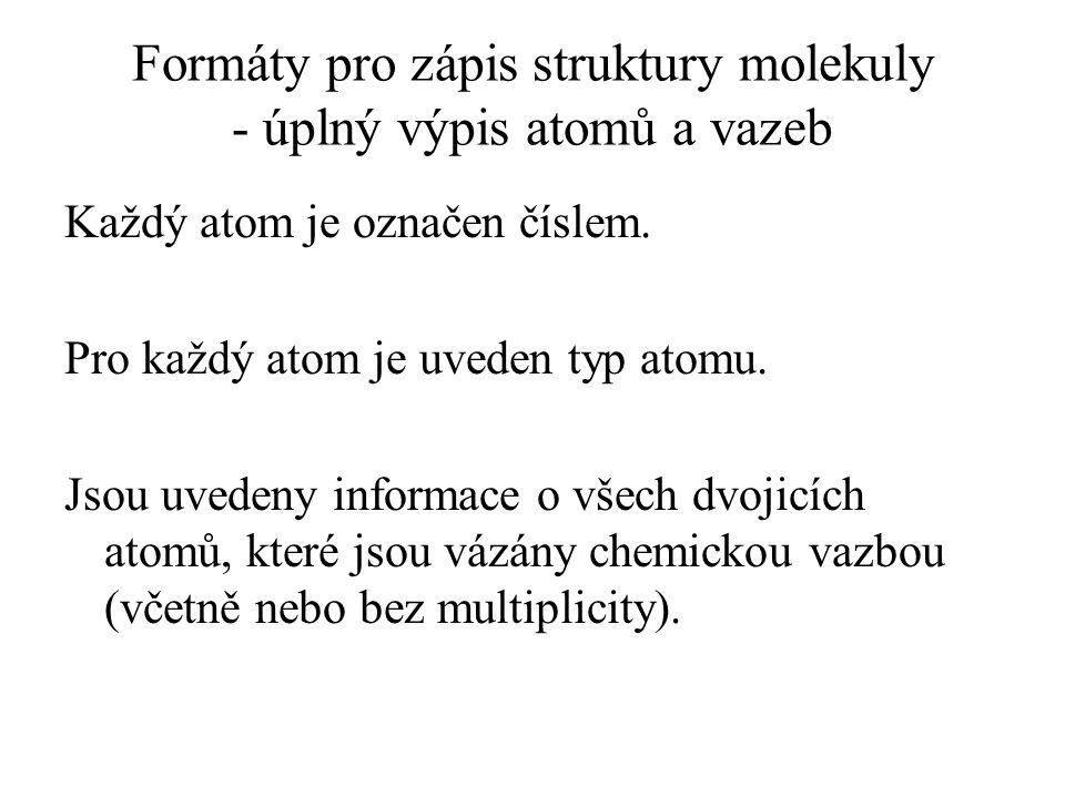Formáty pro zápis struktury molekuly - úplný výpis atomů a vazeb Každý atom je označen číslem. Pro každý atom je uveden typ atomu. Jsou uvedeny inform