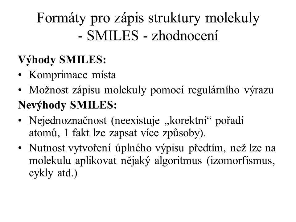 Formáty pro zápis struktury molekuly - SMILES - zhodnocení Výhody SMILES: Komprimace místa Možnost zápisu molekuly pomocí regulárního výrazu Nevýhody