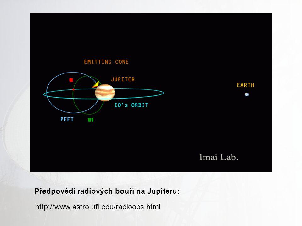 Bouře na Jupiteru Rádiové záření netepelného důvodu v rozsahu (5 – 40) MHz. Poprvé objeveno v roce 1955 F. Burkem, F. Franklinem Délka trvání bouře ~