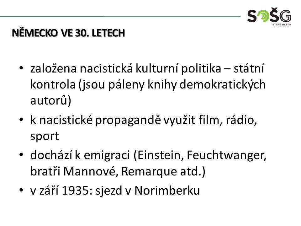 Kolonialismus založena nacistická kulturní politika – státní kontrola (jsou páleny knihy demokratických autorů) k nacistické propagandě využit film, rádio, sport dochází k emigraci (Einstein, Feuchtwanger, bratři Mannové, Remarque atd.) v září 1935: sjezd v Norimberku NĚMECKO VE 30.