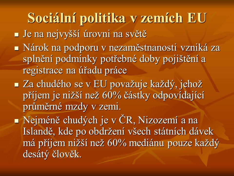 Sociální politika v zemích EU Je na nejvyšší úrovni na světě Je na nejvyšší úrovni na světě Nárok na podporu v nezaměstnanosti vzniká za splnění podmí