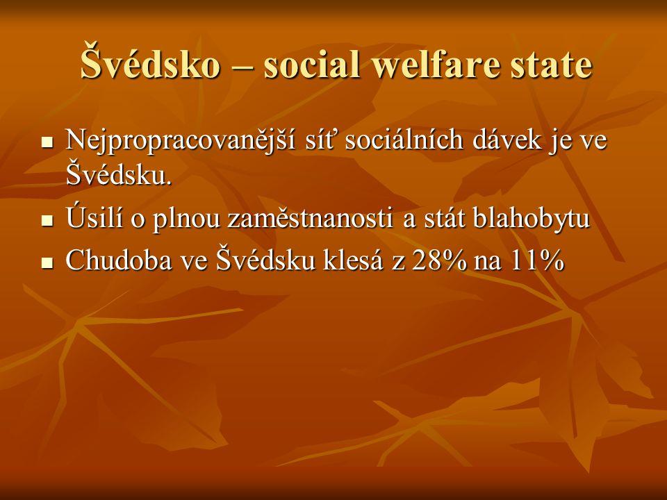 Švédsko – social welfare state Nejpropracovanější síť sociálních dávek je ve Švédsku. Nejpropracovanější síť sociálních dávek je ve Švédsku. Úsilí o p