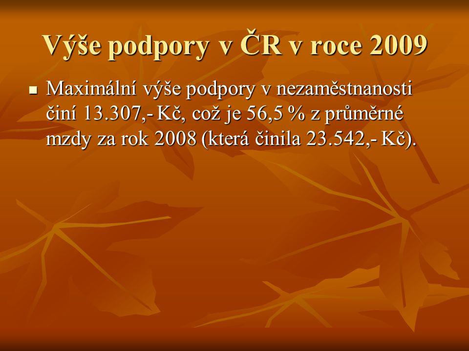 Výše podpory v ČR v roce 2009 Maximální výše podpory v nezaměstnanosti činí 13.307,- Kč, což je 56,5 % z průměrné mzdy za rok 2008 (která činila 23.54