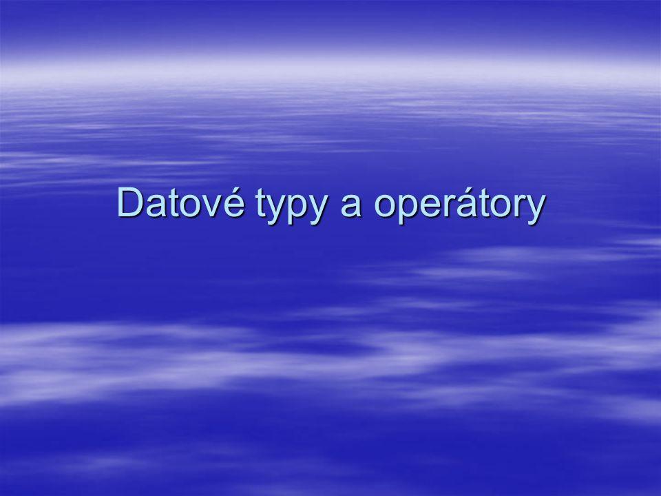 Co jsou datové typy  Charakterizují proměnnou nebo konstantu – jaká data obsahuje  Data jsou v počítači ukládána jako skupiny byte jdoucích v paměti jedno za druhým  Teprve označení datovým typem umožní správně údaje přečíst a s daty pracovat