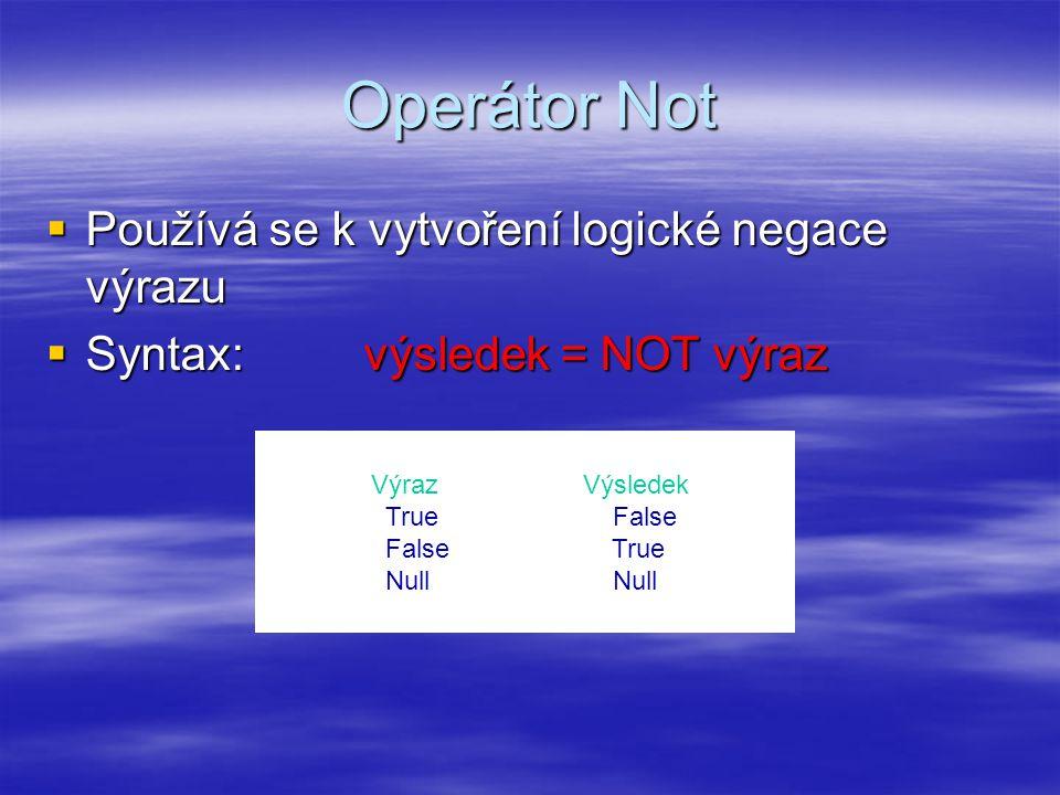 Operátor Not  Používá se k vytvoření logické negace výrazu  Syntax:výsledek = NOT výraz VýrazVýsledek True False False True Null Null