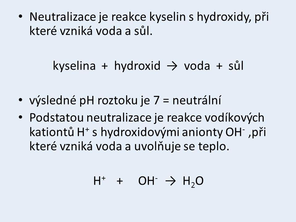 Neutralizace je reakce kyselin s hydroxidy, při které vzniká voda a sůl. kyselina + hydroxid → voda + sůl výsledné pH roztoku je 7 = neutrální Podstat