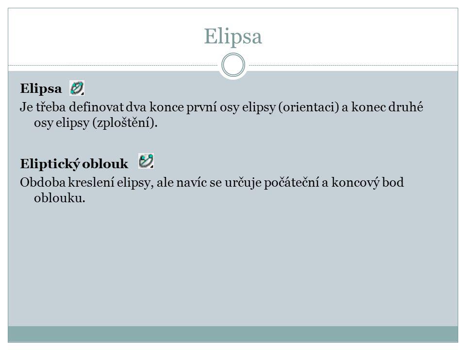 Elipsa Je třeba definovat dva konce první osy elipsy (orientaci) a konec druhé osy elipsy (zploštění). Eliptický oblouk Obdoba kreslení elipsy, ale na
