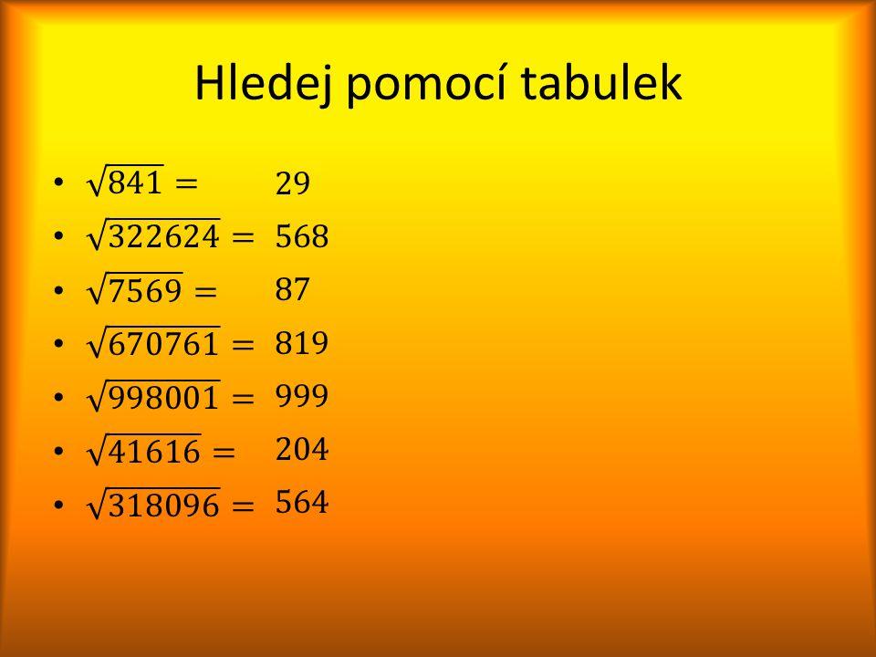 Hledej pomocí tabulek 29 568 87 819 999 204 564