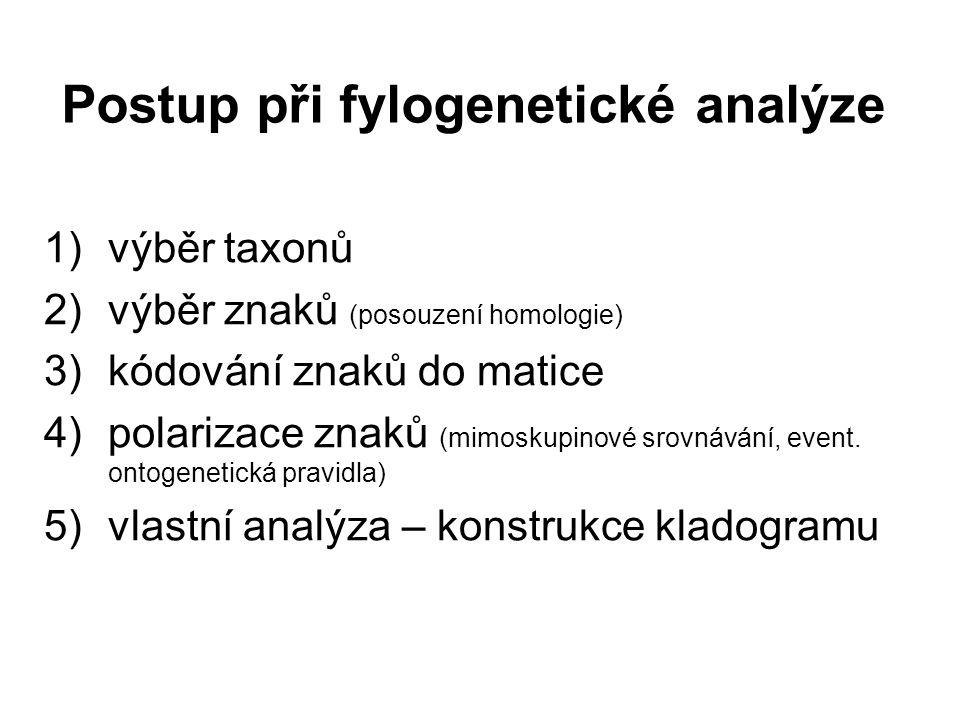 Postup při fylogenetické analýze 1)výběr taxonů 2)výběr znaků (posouzení homologie) 3)kódování znaků do matice 4)polarizace znaků (mimoskupinové srovnávání, event.