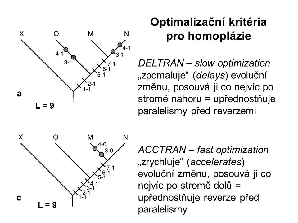 """Optimalizační kritéria pro homoplázie ACCTRAN – fast optimization """"zrychluje (accelerates) evoluční změnu, posouvá ji co nejvíc po stromě dolů = upřednostňuje reverze před paralelismy DELTRAN – slow optimization """"zpomaluje (delays) evoluční změnu, posouvá ji co nejvíc po stromě nahoru = upřednostňuje paralelismy před reverzemi L = 9"""