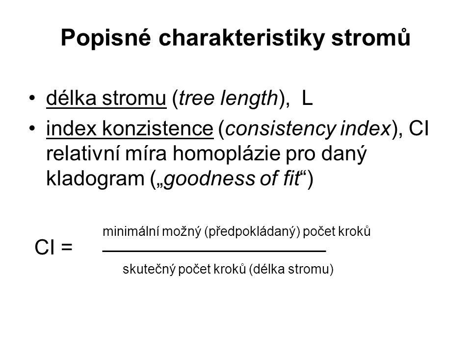 """Popisné charakteristiky stromů délka stromu (tree length), L index konzistence (consistency index), CI relativní míra homoplázie pro daný kladogram (""""goodness of fit ) minimální možný (předpokládaný) počet kroků CI = skutečný počet kroků (délka stromu)"""