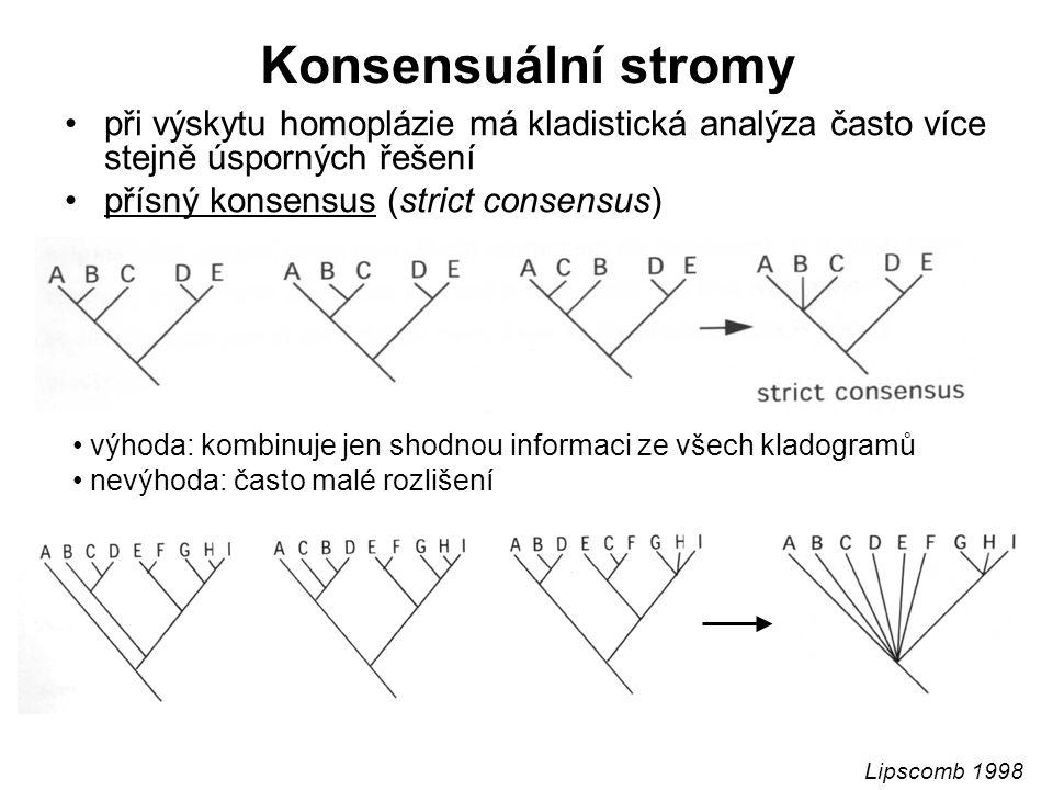 Konsensuální stromy při výskytu homoplázie má kladistická analýza často více stejně úsporných řešení přísný konsensus (strict consensus) výhoda: kombinuje jen shodnou informaci ze všech kladogramů nevýhoda: často malé rozlišení Lipscomb 1998